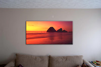 "Virtual fitting of ""Evening Reds"" as a single piece gallery-wrap canvas"